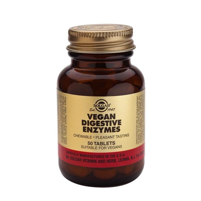 Vegan Enzimas Digestivas 50 comprimidos masticables Solgar