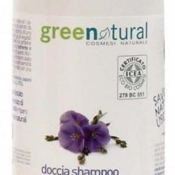 Gel de ducha y champú delicado ecológico lino y proteínas de arroz 1 litro Greenatural