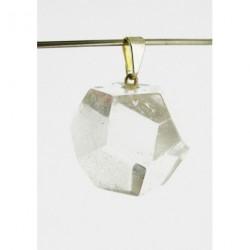 Colgante Dodecaedro Cuarzo Transparente - Baño Plata