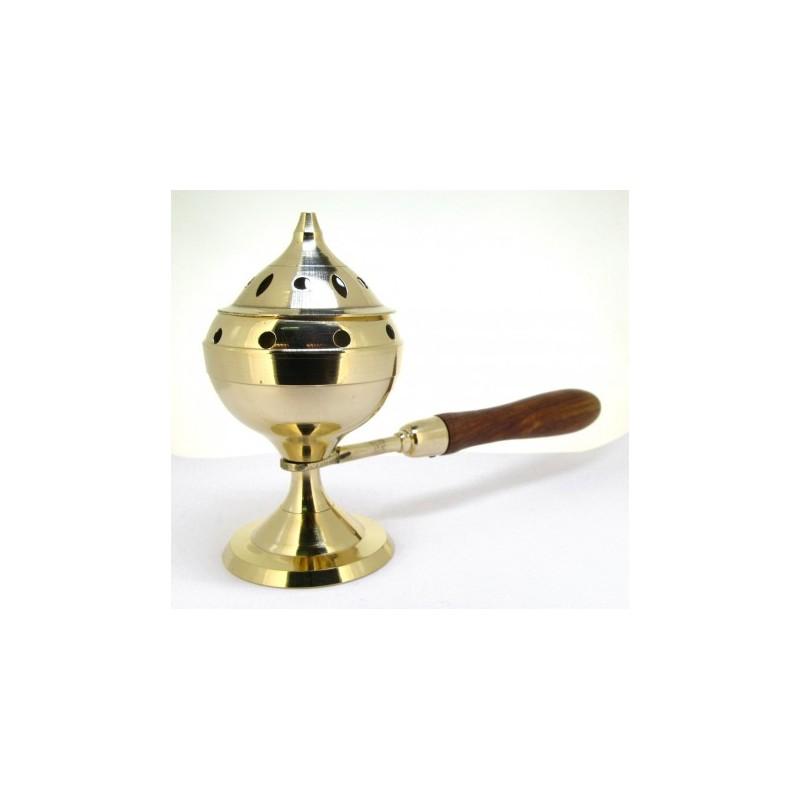 Incensario de bronce con asa de madera