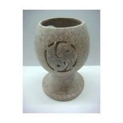 Incensario yin yang de piedra para carbones y resina